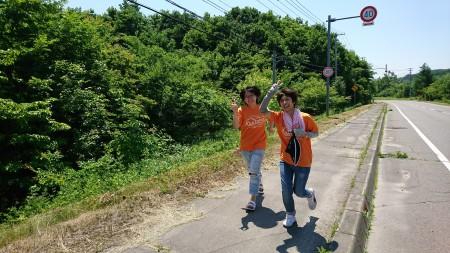 途中まで応援組も一緒に走りました!